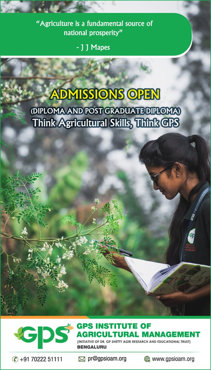 #GPS #Institute #of #Agricultural #Management #Admissions #Open - #2020- #21 #GPSIOAM #Agriculture #Skill #Youth #Agri- #Business #Assured #Job #Placement #Diploma #Post #Graduate #University #Education #NSDC #ASCI #Bangalore #University #Agro #Industries #Entrepreneurship https://t.co/XMv1GAAiHr