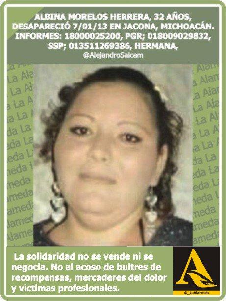 #Tebuscamos Albina Morelos Herrera, 32 años 7/1/13 #Morelia #Michoacán https://t.co/cWRLJApW5r