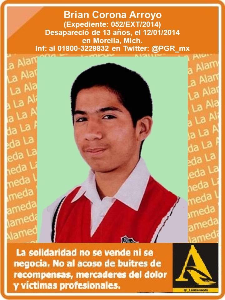 #TeBuscamos Brian Corona Arroyo, 13 años, 13/1/14 #Morelia #Michoacán #911 https://t.co/EmKbkQkTur