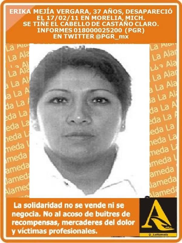#TeBuscamos Erika Mejía Vergara, 37 años, 17/2/11 #Morelia #Michoacán #911 https://t.co/7xN9FlV5gW