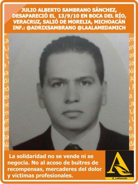 #TeBuscamos Julio Alberto Sambrano Sánchez, 13/9/10 #BocadelRío #Veracruz salió de #Morelia #Mich @AdrixSambrano #911 https://t.co/yjgfxplZto