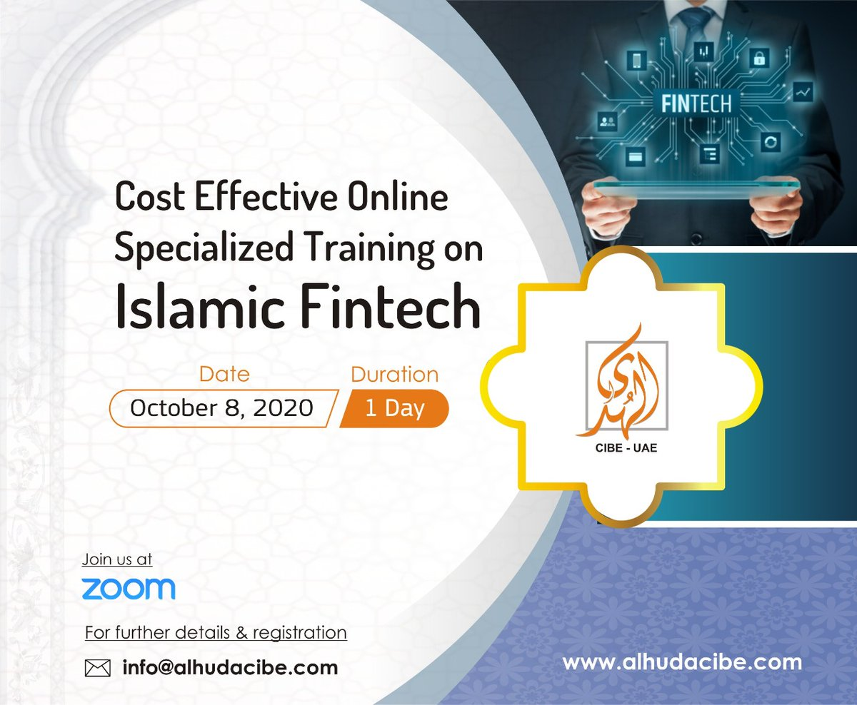 AlHuda CIBE is pleased to announce One Day Specialized Online Training on Islamic FinTech scheduled on October 8, 2020. For further details & registration please visit us: https://t.co/mY2JbnwUmx and email at: shaguftta.perveen@alhudacibe.com https://t.co/xSETQfO9ui