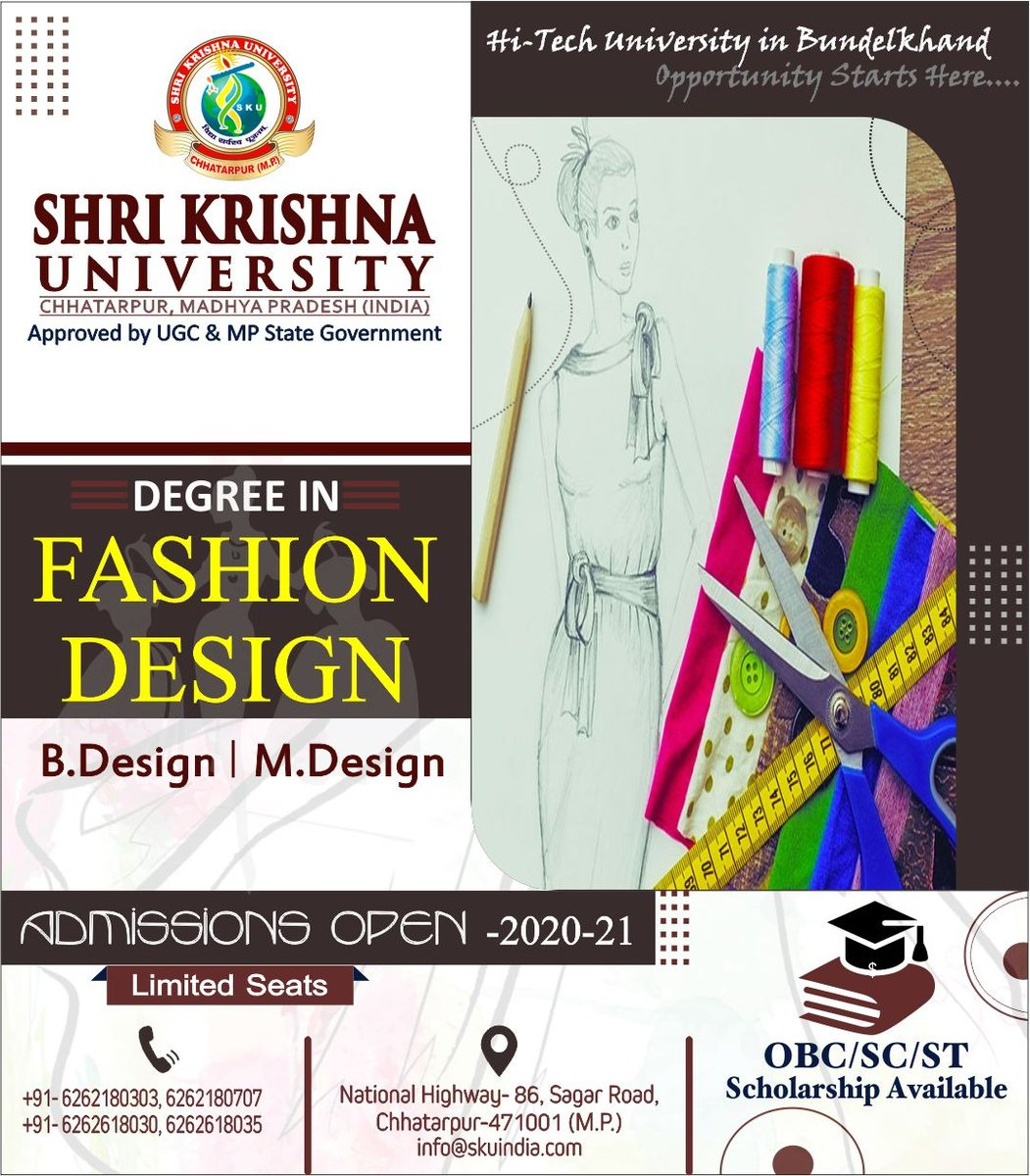 SKU invites applications for admission in #BDesign & #MDesign courses. So, Get ready to uplift your ambition with advanced visions and turn your passion into a successful career. Apply soon!!!  #Admissions #2K20 #SKU #Chhatarpur #MadhyaPradesh #VidyaSarvasvaPoojnam https://t.co/LvNu28l2JR