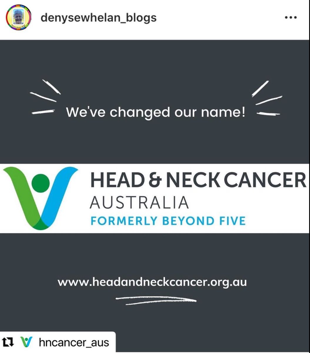 Congratulations to former #beyondfive on this name change to be an easier search for #headandneckcancer #patients #professionals #carers check it out & do follow @hncancer_aus for up to date #HNC information https://t.co/L54AnO1iqo