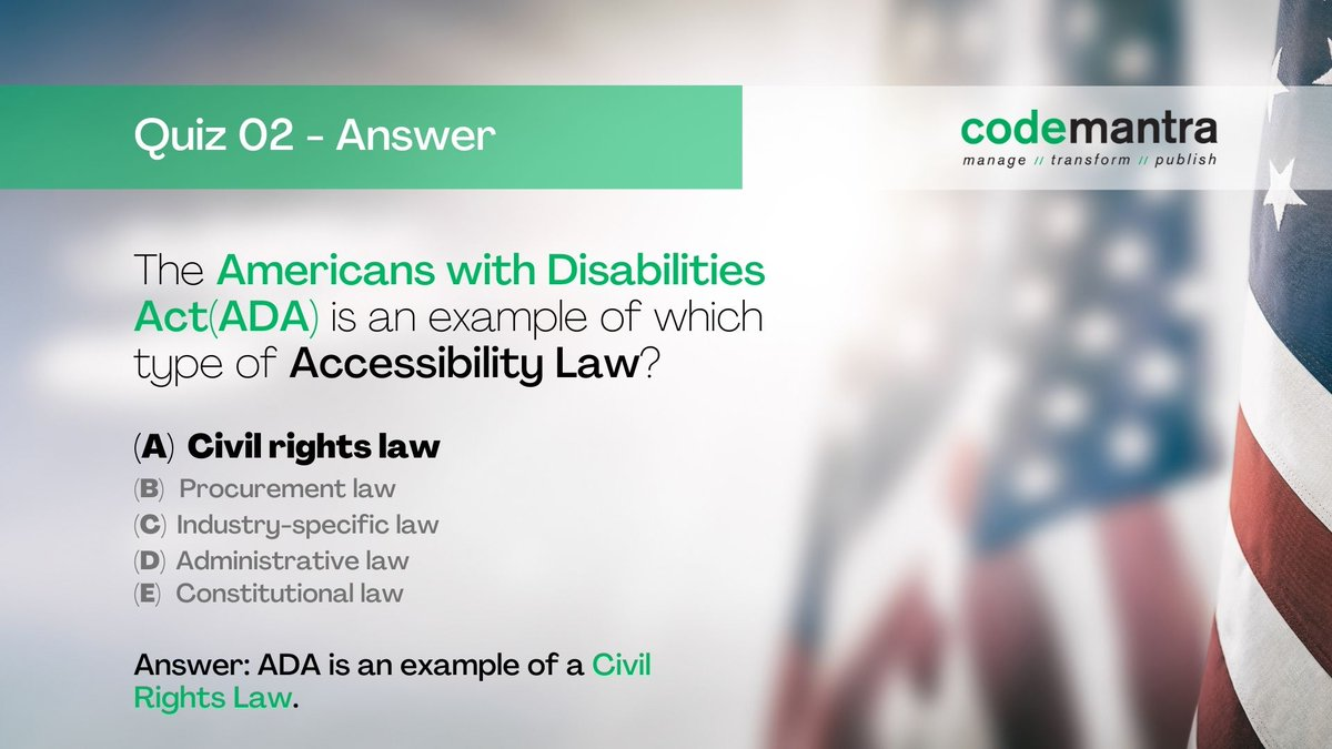 Answer to Weekend Quiz 02. Americans with Disabilities (ADA) is an example of a Civil Rights Law.  Congrats Nambi Rajan P (Second Straight Win!) & Abhimanyu J.  #quiztime #adacompliance #civilrights #mondayvibes https://t.co/A8eHCJ3KNX