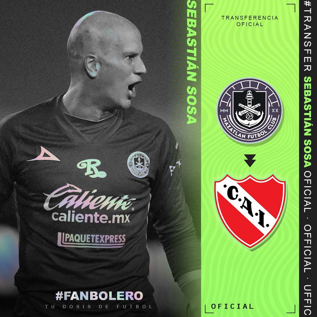 ¡A SUDAMÉRICA!  A través de redes sociales, el conjunto de Mazatlán confirmó que Sebastián Sosa jugará con Independiente de Avellaneda; el arquero uruguayo se va a préstamo con opción a compra 😱🥅🇦🇷🇺🇾  #SebastianSosa #MazatlanFC #Independiente #Oficial #SoyFanbolero https://t.co/TkVch5XBqn