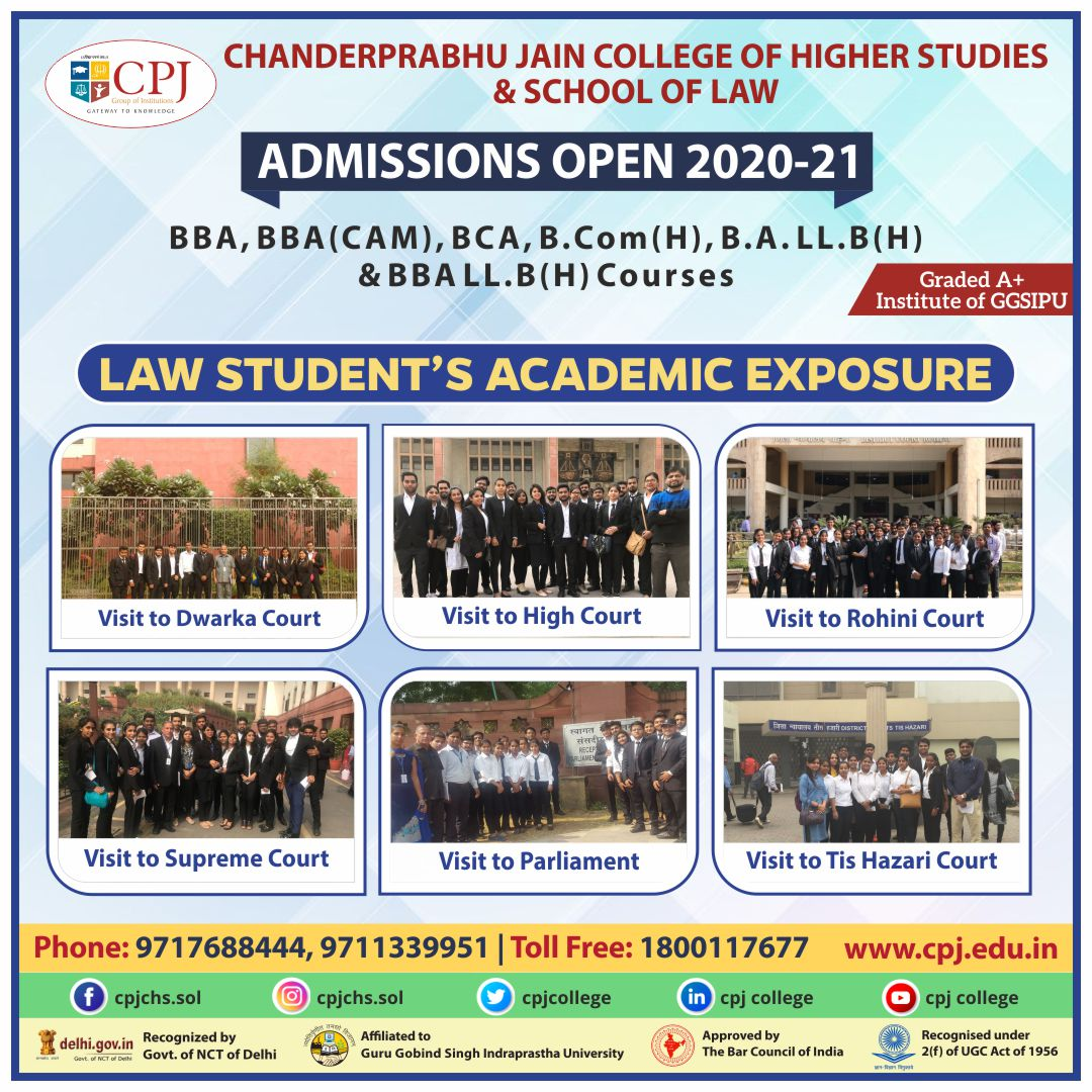 #Admissions Open For Session 2020-21 (https://t.co/Ha0fHACfxo) in BBA, BCA, BCOM, BA/BBA LLB @ A+ Graded & Top Ranked CPJ College affiliated to #GGSIPU. #CPJ provides extensive Academic Exposure to its Students to shape their personality for their future endeavors. https://t.co/p08N59ksEs