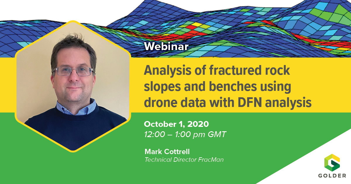 Don't miss our Mark Cottrell presenting 'Analysis of fractured rock slopes and benches using drone data with DFN analysis' this Thursday at the @EIGConference Webinar Series.   Sign up for free https://t.co/hApoPjTk32  #FracMan #DFN #GeotechnicalEngineering #EIGWebinar #drones https://t.co/vY53LdzJ6i