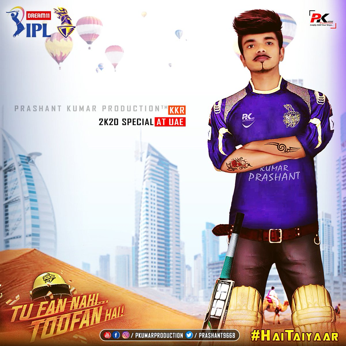 It's #PKUMARPRODUCTION™ #Toofani🌪️ #DP📸 #Edition..  ..Ami #KKR⚔️ #HaiTaiyaar | #Dream11IPL🏆 #2K20 At #UAE | #KorboLorboJeetbo Re🔥💪💪... https://t.co/Wjkt4fdots