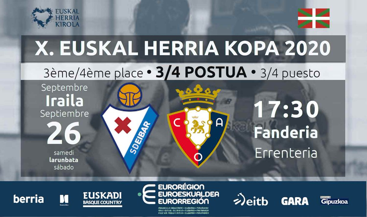 ➡️ GAUR! 🏆 X. Euskal Herria Kopa 2020 ⚽️  📢 3/4 postuak 💥 @SDEibar  🆚 @caosasuna_eus  ⚽ ⏰  17:30 🏟️  Fanderia #Errenteria #EHKopa #EHKirola #Futbola https://t.co/jhu5hALQGS