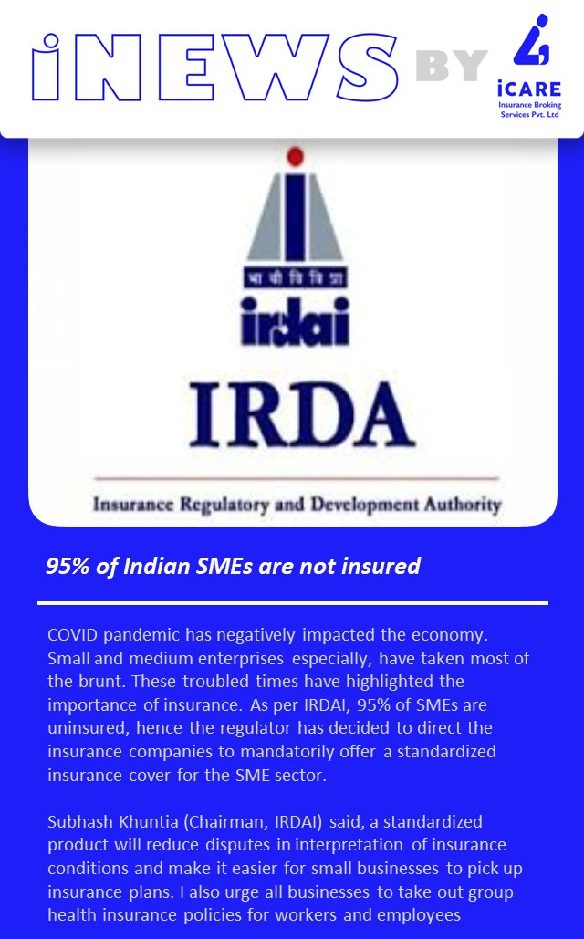 #IRDAI says 95% of Indian SMEs are not insured  Source: The Times of India #IRDA #insurance #insurancenews #coronaindia #coronavirus #coronavirusnews #covid19news #coronaindia #coronavirus #coronavirusnews #covid #covid19news #smes #smebusiness #smesector #smesupport #smegrowth https://t.co/yXDFAgZ8PJ