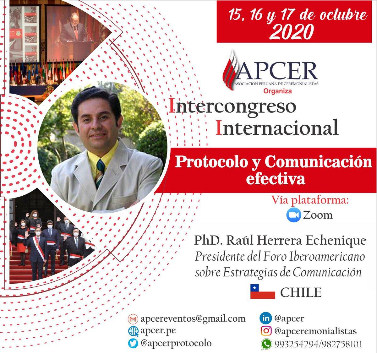 """Te esperamos en el Intercongreso Internacional """"Protocolo y comunicación efectiva"""" 2020, los días 15,16 y 17 de octubre.  Informes e inscripciones: apcereventos@gmail.com  #IIPyCE2020 #Comunicación #APCER #Protocolo #Ceremonial #ComunicaciónEstratégica #RelacionesPúblicas #Chile https://t.co/I6JzrYLjw0"""