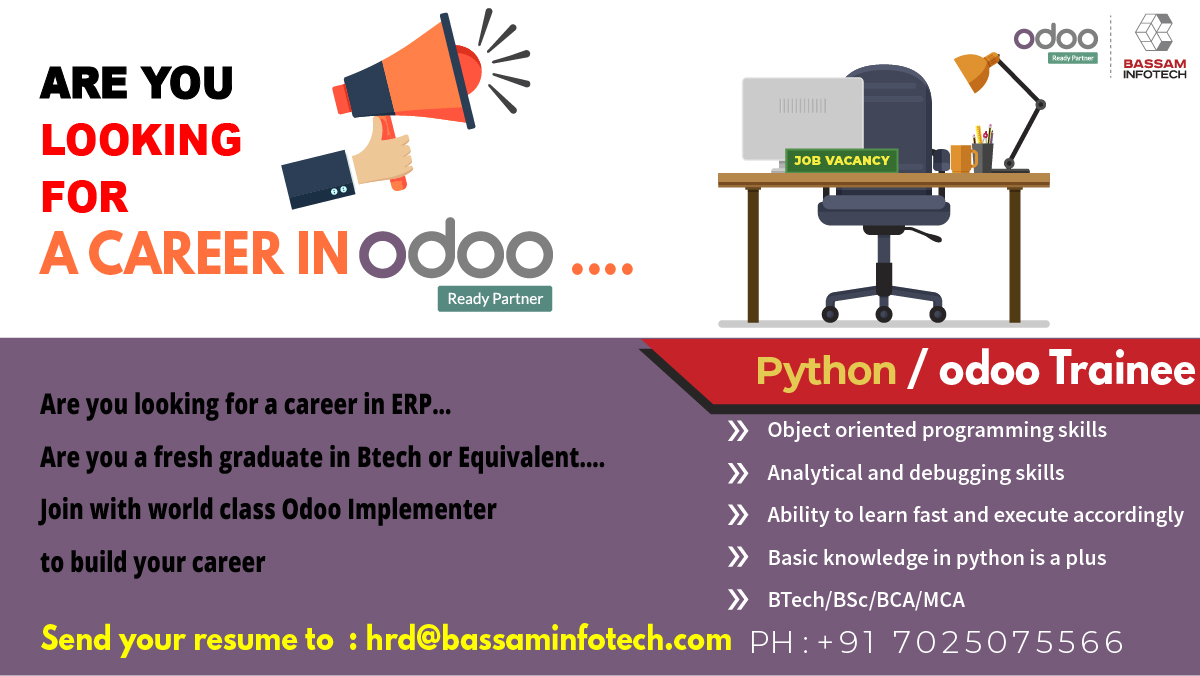 We're hiring Odoo Developer (2 year or above experience) and Odoo Trainee (fresher) Send your resume to hrd@bassaminfotech.com #developer #hiring #odoodeveloper #pythonjobs #python #pythonlearning #pythonprogramming https://t.co/zxtrqp0TSp