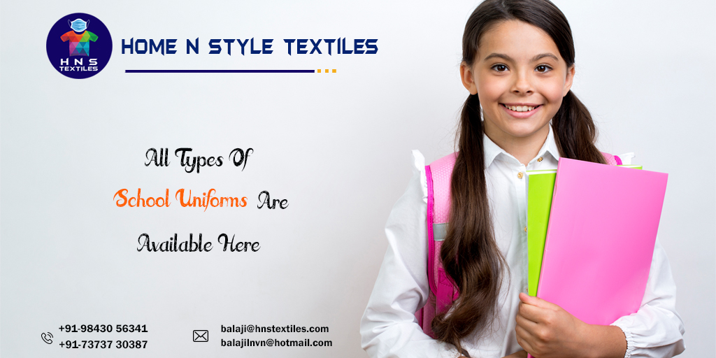 #HNS_Textiles ☑️All Types Of School Uniforms Are Available Here... #HomeNStyleTextiles #Home_N_Style_Textiles #HNS #T_shirts #PPE_Kits #Medical_Textiles #Hospital_Linen  #ipl #ipl2020 #csk #mi #dc #kkr #rcb #sh #iplfever #iplishere #todayipl #todaymatch #todayiplmatch_winner https://t.co/oswBOQ8gE4