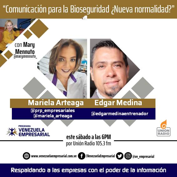 """Hoy Sábado #26sep 6:00 pm les invitamos a escuchar @VE_Empresarial con @marymennuto_  por @unionradiovln  105.3 FM  #Comunicación para la #Bioseguridad en la """"nueva normalidad"""" con  @edgarmedinaentrenador y @mariela_arteaga de @prp_empresariales https://t.co/L9KR7RhBzh"""