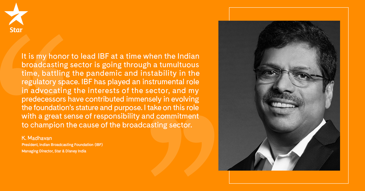 We're delighted to announce that Indian Broadcasting Foundation Board has elected K. Madhavan, MD, Star & Disney India as the Foundation's new President. Congratulations, KM! Read more: https://t.co/IE0x3WC3VN https://t.co/lJZ9vgFaLl