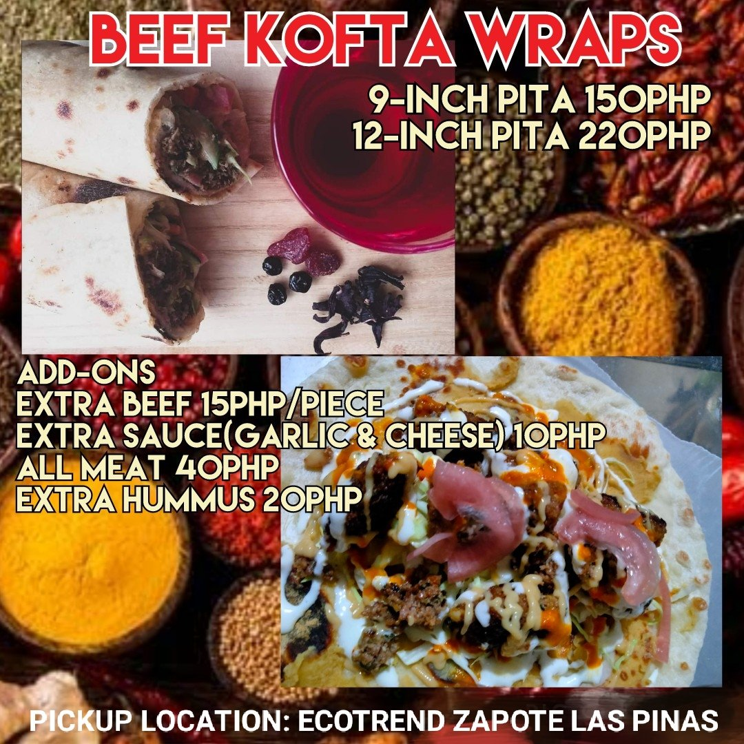 Have you been looking for that authentic kebab taste? Try our beef kofta kebab wraps! Also available with rice! Send us a message for orders! #laspinas #homeMade #kofta #shawarma #busog #largeserving #torshi #hummus #kebabrice #delicious #manila #Philippines #beef https://t.co/0xGJqZM61k