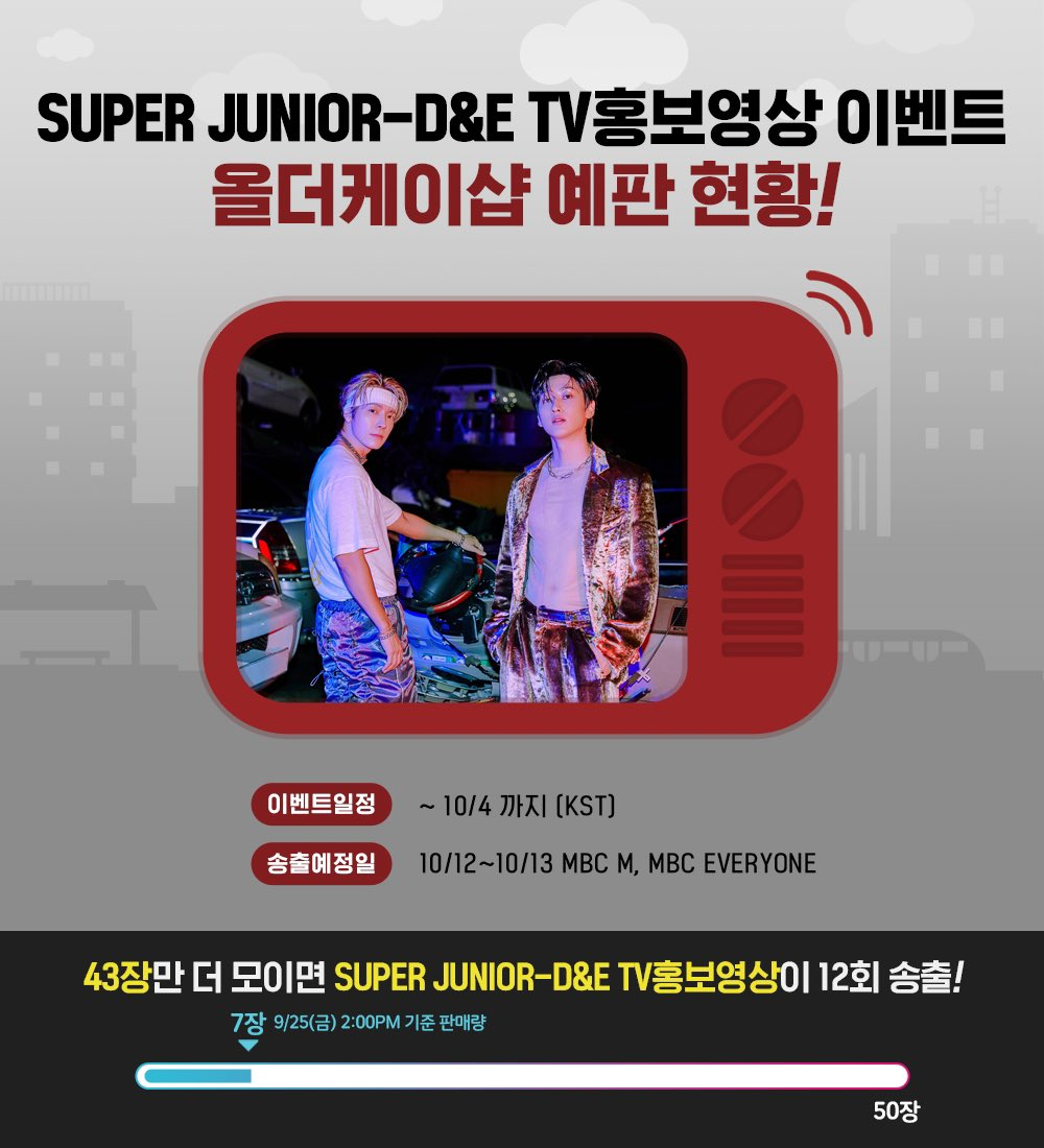 <Update on the event's status> 🏆#𝗕𝗔𝗗_𝗟𝗜𝗔𝗥 𝗧𝗩 𝗦𝗣𝗢𝗧 𝗔𝗗  Every time 50 albums are sold, #SuperJuniorDnE's ad will be broadcasted on Korean TV.  Remaining amount ✅ 43 albums(09.25~2pm) ✅ https://t.co/mNYoxlpUdV  Albums sold are reflected on GAON's chart. @SJofficial https://t.co/64sKq0sVGw
