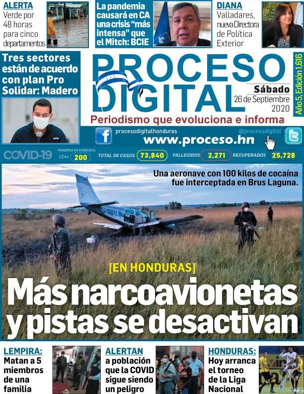 #PORTADAprocesodigital Sábado 26.09.2020. #Honduras #tapasdeldía #COVID #Centroamerica https://t.co/XN6HHrkg4X