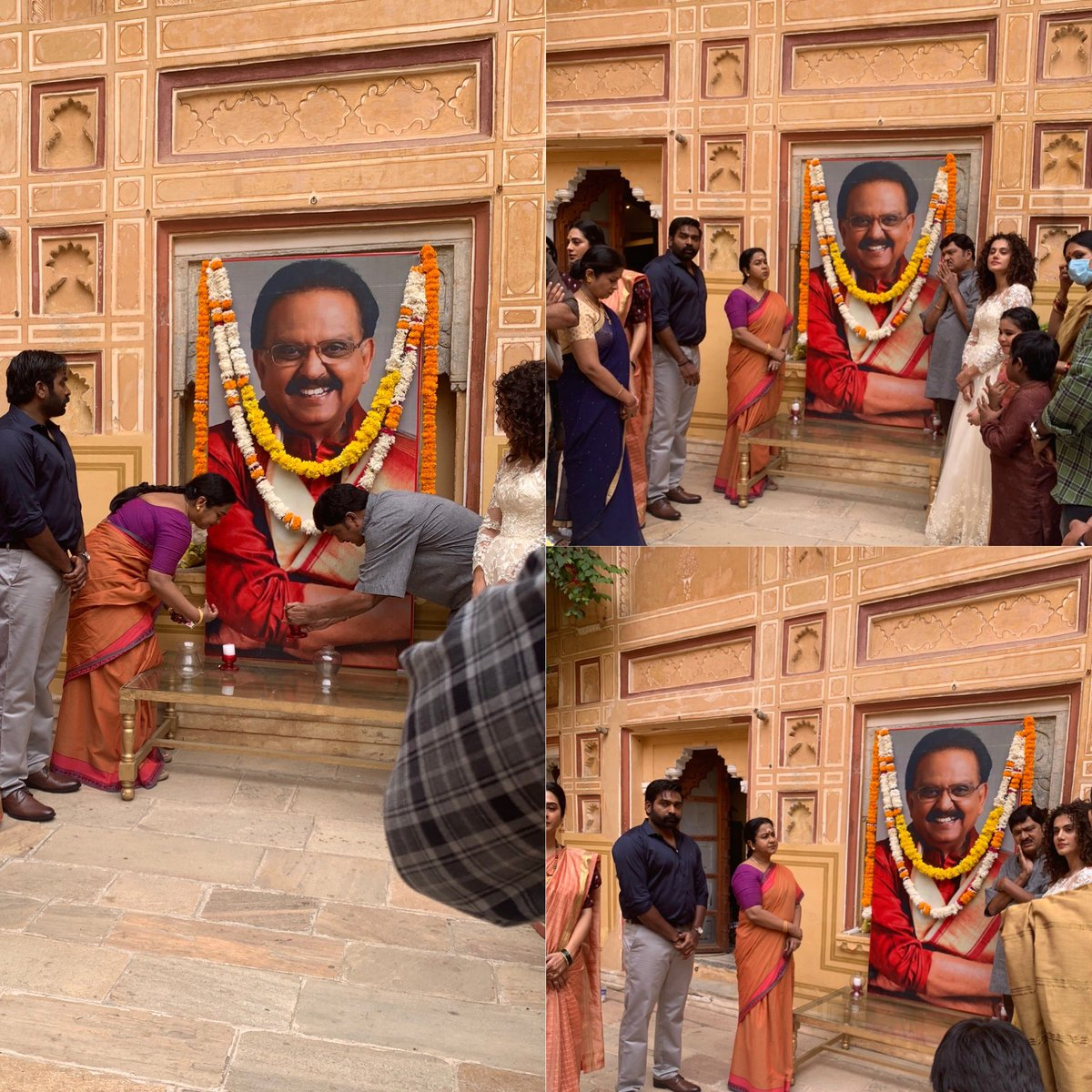 #SPBalasubrahmanyam  a tribute by the unit in Jaipur @VijaySethuOffl  #TapseePannu  #rajendraprasad https://t.co/14cqwMxNR2