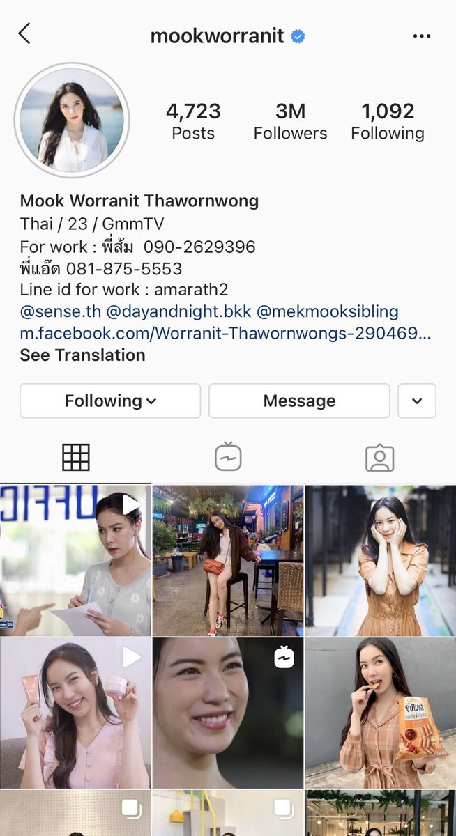 Congrats! @MookWorranit for 3M followers 🎉🎉🎉 #GMMTV https://t.co/CJPkXPio19