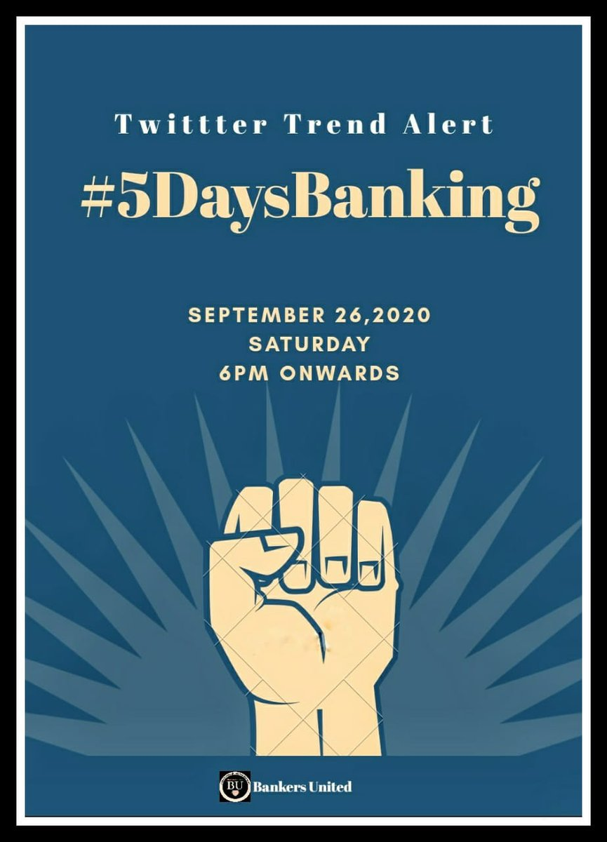 """#5daysbanking  #bankholiday  We want 5 Days Banking to protect our Work-Life balance, specially in the era of #Digital_Banking & #Digital_India""""  @PMOIndia @FinMinIndia @narendramodi https://t.co/WmEtw1Ivlj"""