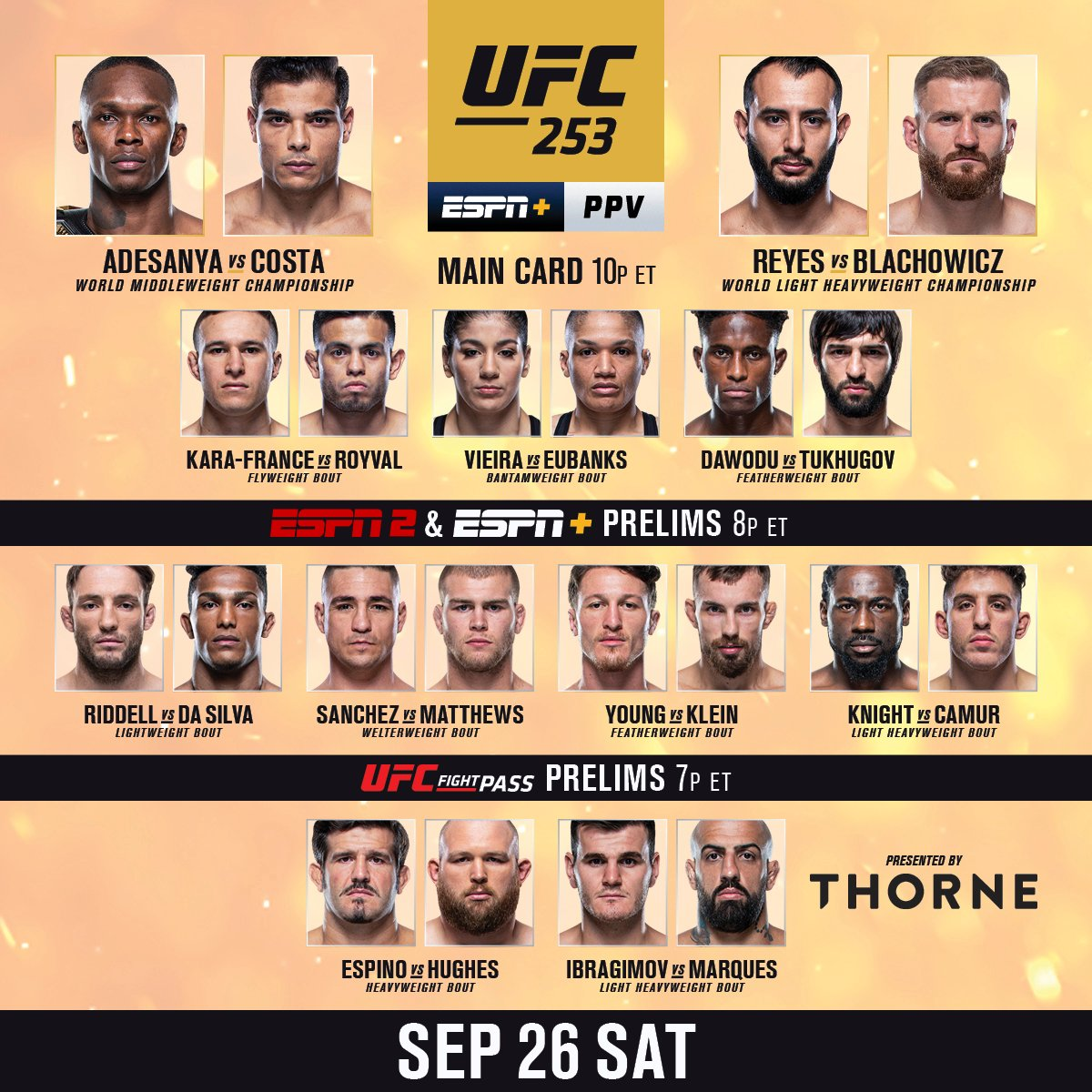 RT b/c IT'S FIGHT DAY 😤  #UFC253 goes down tonight from Fight Island - LIVE on #ESPNPlus   [ Get the PPV: https://t.co/X57BGqYE5U - B2YB @Thorne_Research ] https://t.co/1iOTx8kwQa