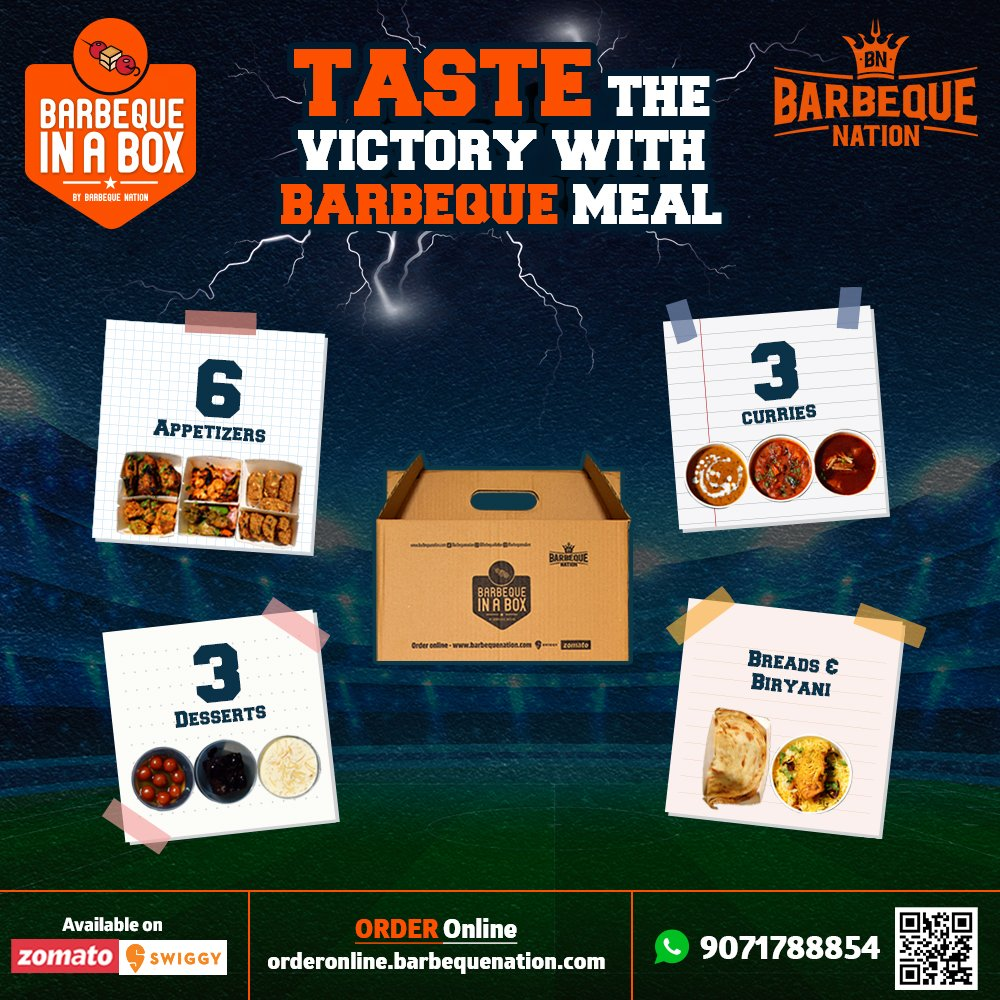 Experience the lavish Barbeque Nation's buffet experience at home, while you enjoy Kolkata take on Hyderabad today. Order BBQ in box today: https://t.co/UXokMCqai5 https://t.co/gwf1wt9WfA