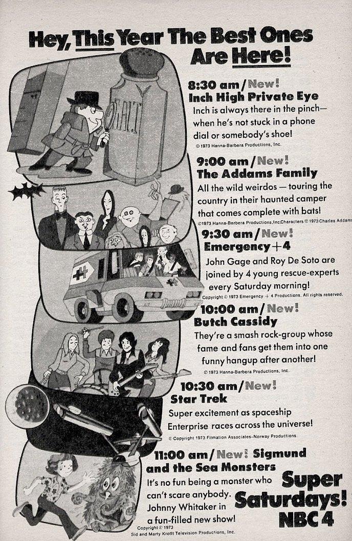 NBC Saturday Morning Lineup (1973) #InchHigh #AddamsFamily #Emergency #ButchCassidy #StarTrek #SigmundandtheSeaMonsters #Filmation #HannaBarbera #Krofft #SaturdayMorning #SaturdayMorningCartoons https://t.co/NQ5RsWLFQY