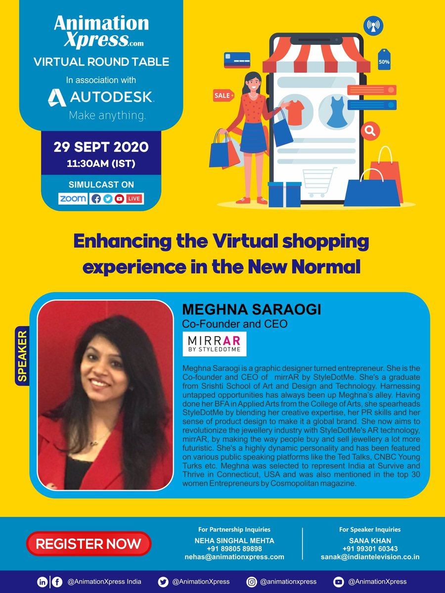 """Meet Meghna Saraogi, Co-Founder & CEO, #Mirrar, at """"Enhancing the virtual shopping experience in the new normal""""  Register now: https://t.co/UKLz87yfUE   In association with Autodesk  And Animation Xpress   #onlineshopping #mirrar #NewNormal  #virtualroundtable #webinars https://t.co/tEZvrvtqNc"""