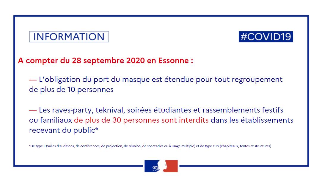 #COVIDー19 | L'#Essonne est en zone Alerte 👇- 😷 obligatoire pour tout regroupement de + de 10 personnes- rassemblements festifs/familiaux limités à 30 personnes dans les établissements recevant du public+ d'info sur : bit.ly/2HCDddj https://t.co/Cm5qFnFP0W