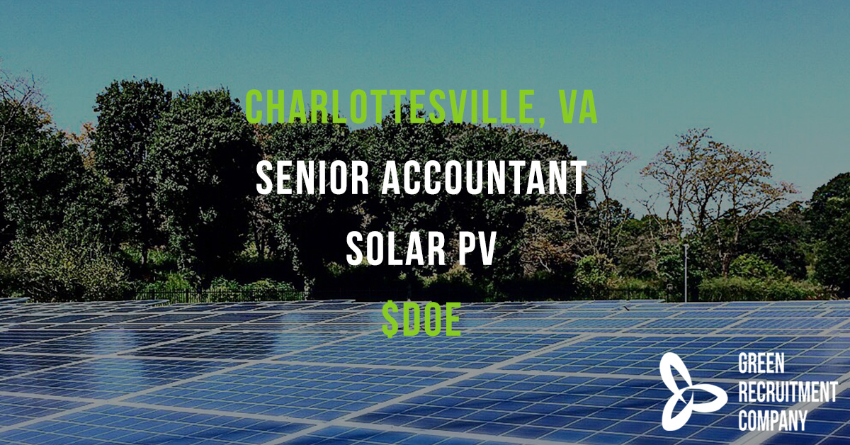 We have a role in #Charlottesville #VA for a Senior #Accountant for a #SolarPV business - salary is $DOE. To apply please email Harry Davies; harry.davies@greenrecruitmentcompany.com #ConnectingGreenTalent #Careers #US #Virginia #AccountancyJobs  #Hiring #USA #GreenEnergy https://t.co/tc2yHBrxRZ
