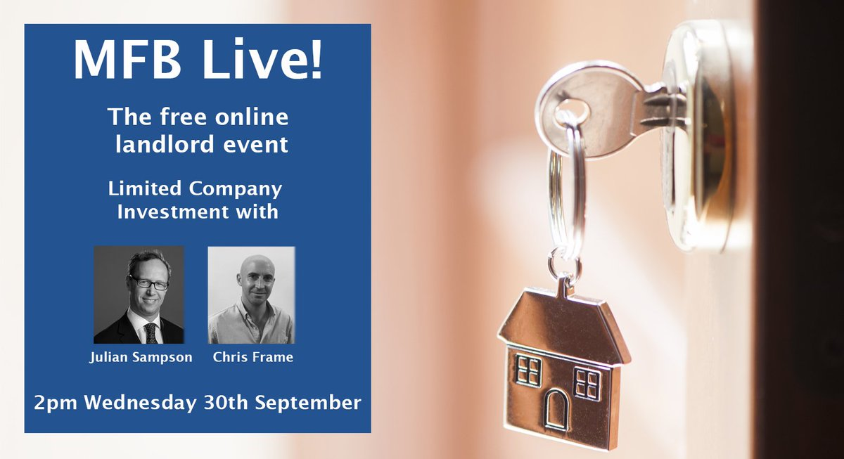Join us for our FREE online landlord event: MFB Live! Featuring limited company property investment experts Julian Sampson and Chris Frame in conversation with @Jenibrowne1. For more info & registration ➡️ https://t.co/9FDTZQgjBn  #buytolet #landlords #event https://t.co/ziG5MXS9Gl