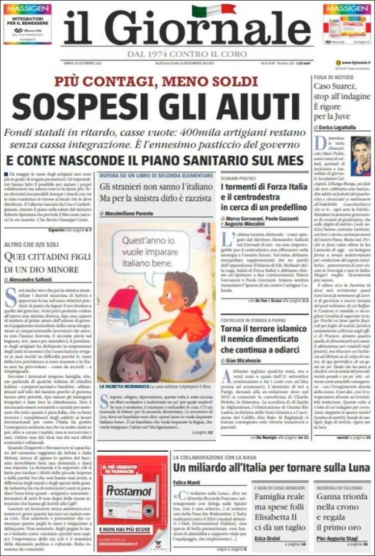IL GIORNALE https://t.co/a6a0AW37Ee #r2p #IlGiornale #Italia #UE #Europe #USA #Biden #Trump #Euro #Italie #Italy #Coronavirus #Virus #Covid #Maduro #SergioMattarella #GiuseppeConte #Mib30 #Poutine #Formula1 #Ferrari #Liban #Beirut #JeffBezos #NBA #AndreaPirlo #Berlusconi #Renzi https://t.co/1W0EgqrC5K