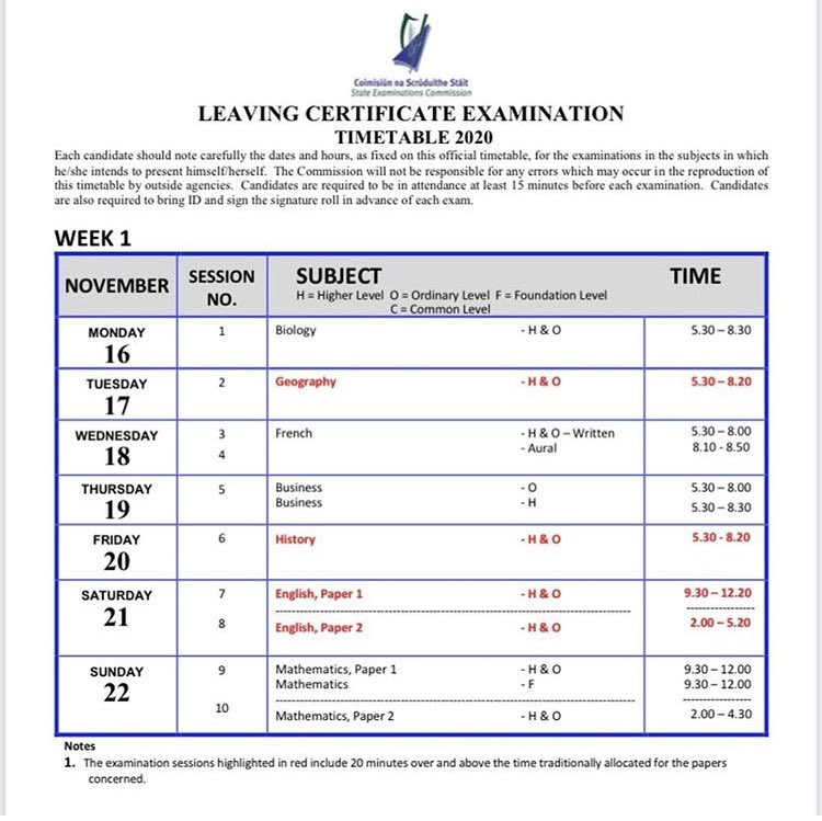 The timetable for Leaving Cert seated exams has been posted. Students can register on their portal. #LeavingCert2020 https://t.co/ciL1F5zvGK