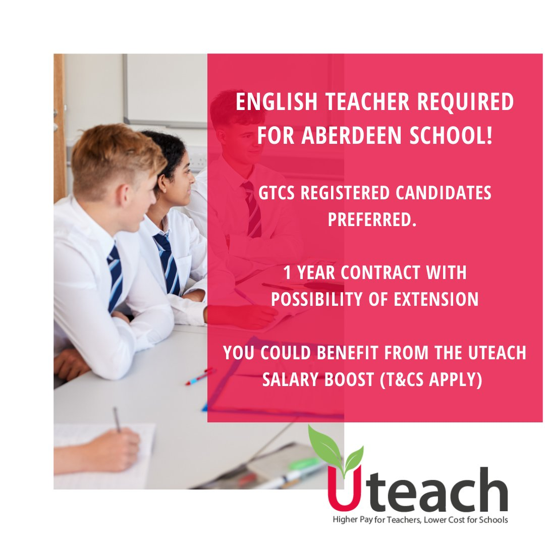 Are you an #EnglishTeacher looking for a role in Aberdeen?   We have a fantastic opportunity for you! GTCS registered candidates preferred.  Apply today: https://t.co/za72WRaaKZ  #EdChat #EdLeaders #Edu #Education #Educhat #Parents #TeacherJobs #Teachers #covid19 #UKSchools https://t.co/4VT6NQHoWr