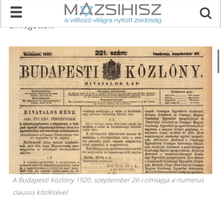 100 years ago today, Hungary's first anti-Jewish law — the so-called numerus clausus — came into effect. https://t.co/KSpiAWz7e2