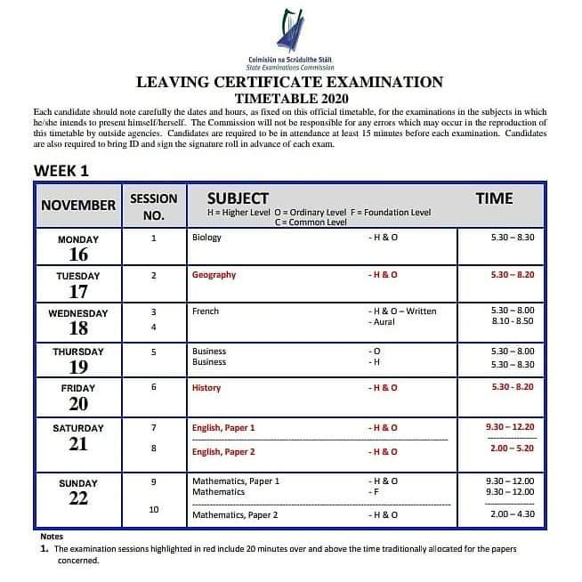 SEC have released LC timetable for Nov/Dec. Take note of times, day & dates of subjects you may wish to sit 📝🗓️⏰@patricianhigh  #LeavingCert2020 #leavingCertExams https://t.co/pQiLDEWMdF