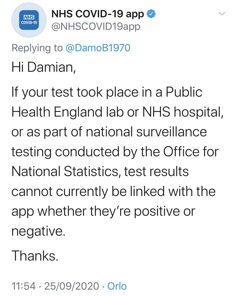 The NHS test and trace is app which is run by a private firm and not the NHS does not accept tests done by the NHS only by the private firm so we have entered the dystopian future where the tory government have privatised a pandemic. https://t.co/BGtYgLIzl6