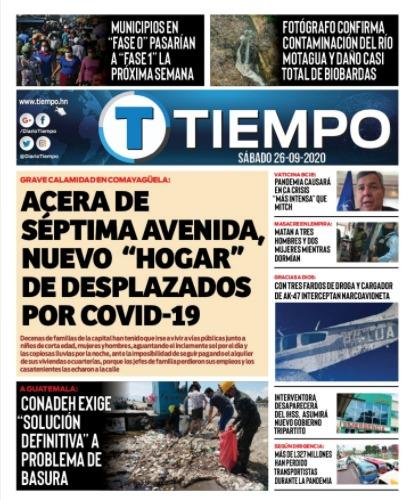 Portadas de los #Diarios #periódicos #rotativos del #periodismo de #Honduras del día sábado 26 de septiembre  2/3 @DiarioTiempo @STNHonduras @elpaishn  #Cuidense #JehováDiosnosproteja https://t.co/jaMglzs3Ar