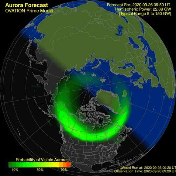 Current OVATION map showing auroral activity worldwide #northernlights #aurora https://t.co/Xcsna4bDqm https://t.co/RcrL4iOIh3