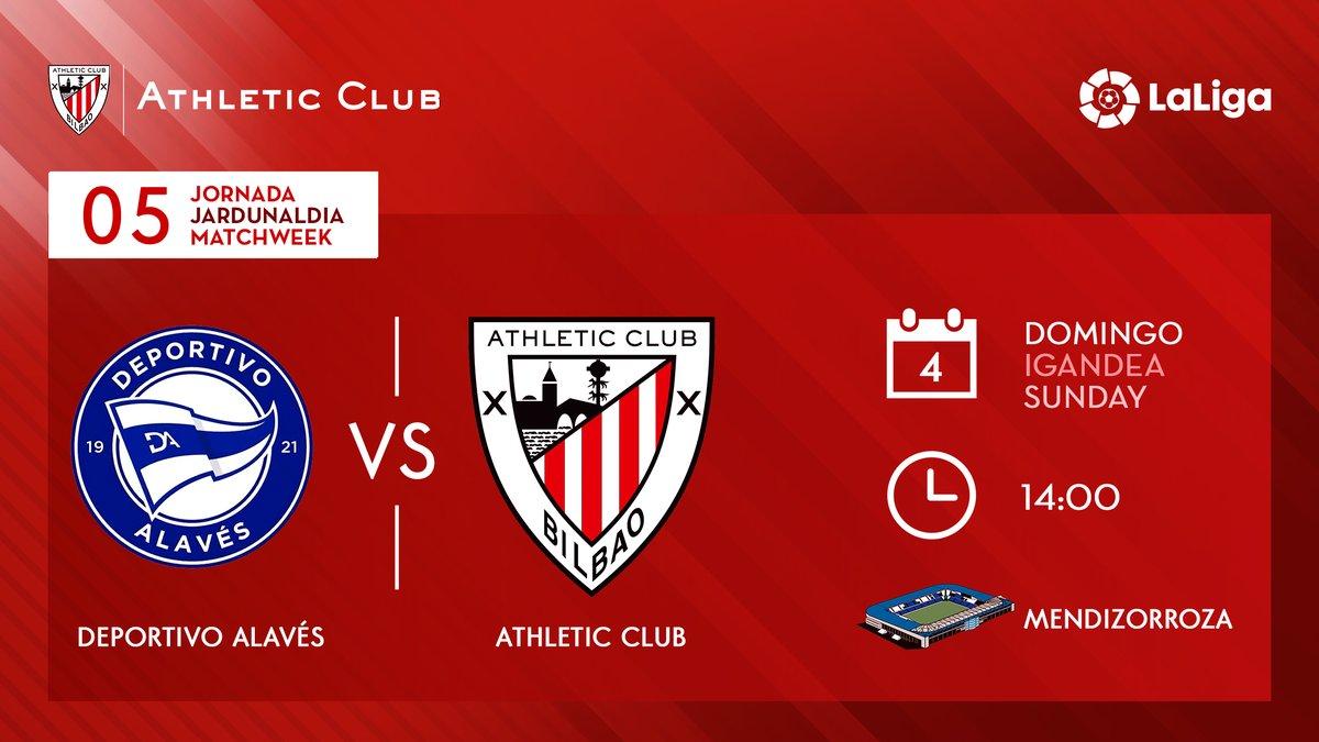 HORARIOS I @LaLiga ha dado a conocer el horario de la jornada 5:  🆚 @Alaves 🏟️ Mendizorroza 🗓️ Domingo, 4 de octubre ⏰ 14:00 h  #AlavésAthletic #AthleticClub 🦁 https://t.co/ug9j9kKhPg