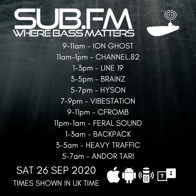 The lineup for Saturday 26th September 2020  https://t.co/NobrdDLSg3  @MrBrainz @HeavyTrafficRec  #Dubstep #UKGarage #BassMusic #DnB #Grime #Dub #Reggae #House #Techno #Jungle #Juke #Bass #Radio https://t.co/5VGyWvXuse