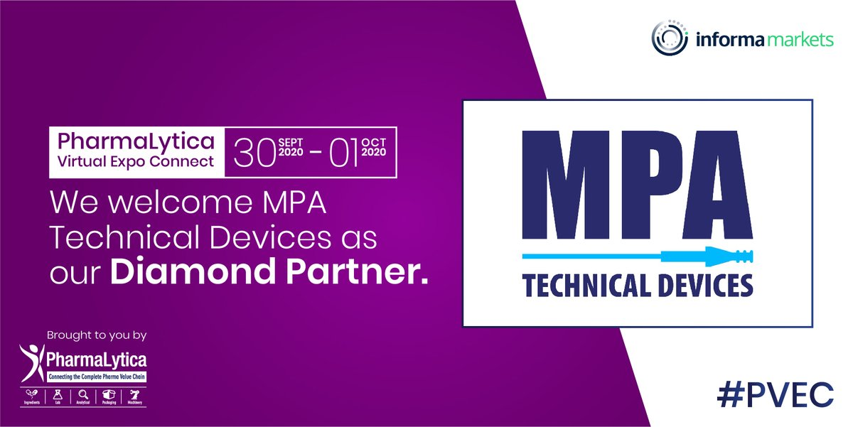 We welcome MPA Technical Devices as our Diamond Partner at #PharmalyticaVirtualExpo. The expo will be held from the 30th of September to the 1st of October, 2020.  Registration link:  https://t.co/GqfGFB96jl   #Pharma #Machinery #Packaging #PharmaMachinery #Labs #Laboratory https://t.co/VAA6bhZWGe