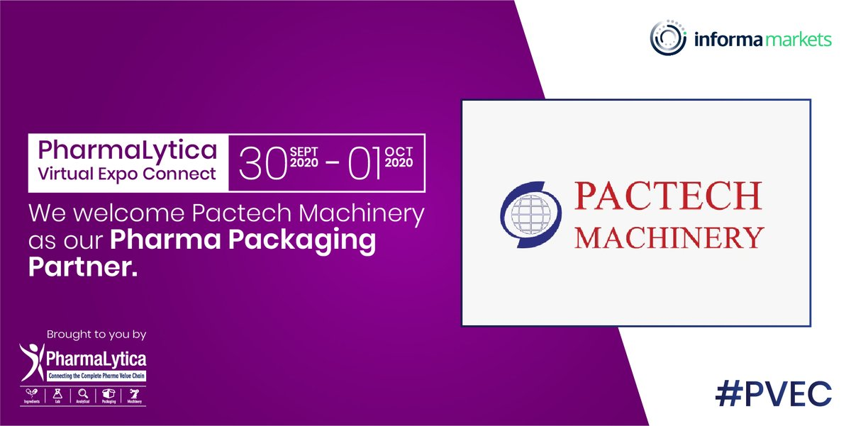 We welcome Pactech Machinery as our Pharma Packaging Partner at #PharmalyticaVirtualExpo. The expo will be held from the 30th of Sept to the 1st of Oct, 2020. @pactechmachines Registration link:  https://t.co/GqfGFB96jl   #Pharma #Machinery #Packaging #PharmaMachinery #Laboratory https://t.co/17qiTl6iRX