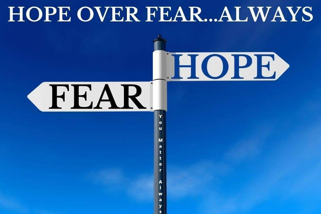 Wherever possible HOPE over fear 💜💜💜 #YouMatterAlways #hopeandstrength #hopeoverfear #stayinghopeful #HelpOtherPeopleEveryday https://t.co/G6f3iLyWVI