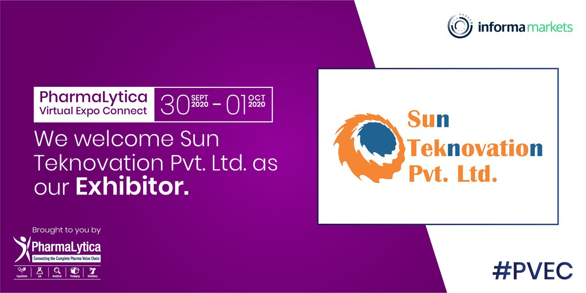 We welcome Sun Teknovation PVT Ltd as an 'Exhibitor' at #PharmalyticaVirtualExpo.  The expo will be held from the 30th of Sept to the 1st of Oct, 2020.  Registration link:  https://t.co/GqfGFB96jl  #PharmaLytica #Pharma #Machinery #Packaging #PharmaMachinery #Labs #Laboratory https://t.co/tgzNfwFsuS