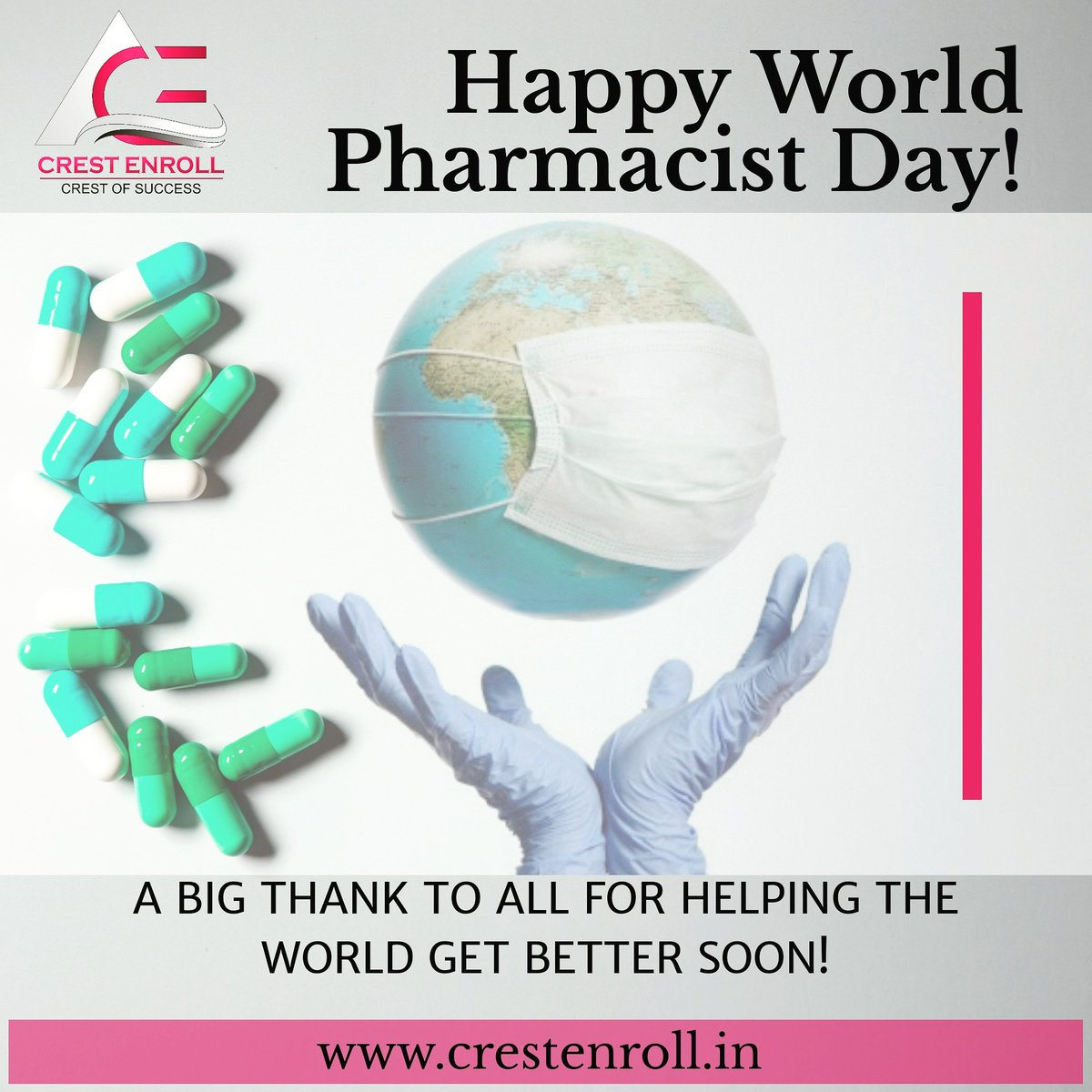 Happy World Pharmacist Day!✨ A big thank to all for helping the world get better soon!🌍💐 . Learn More About Clinical Research:  https://t.co/y9svI4uUnO .  #happyworldpharmacistday #pharmacy #pharmaceutical #clinicalresearch #pharmacological #training #bestinstitute #placement https://t.co/vN0aG2Om4H