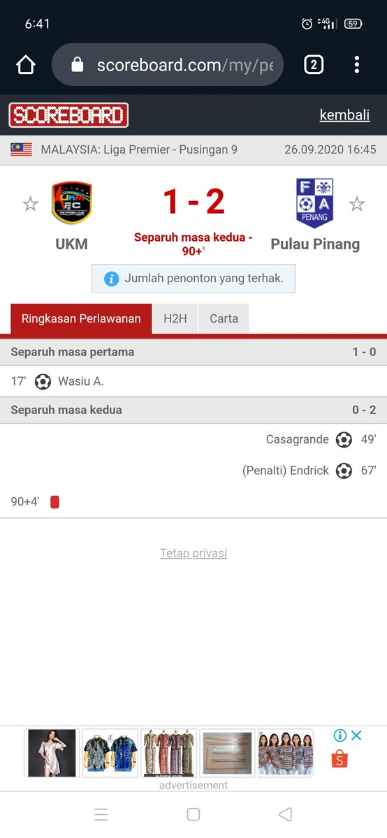 Entering injury time, still #Penang 2-1 up, with red card to UKM FC !! #Haria https://t.co/k9c2k53CT2
