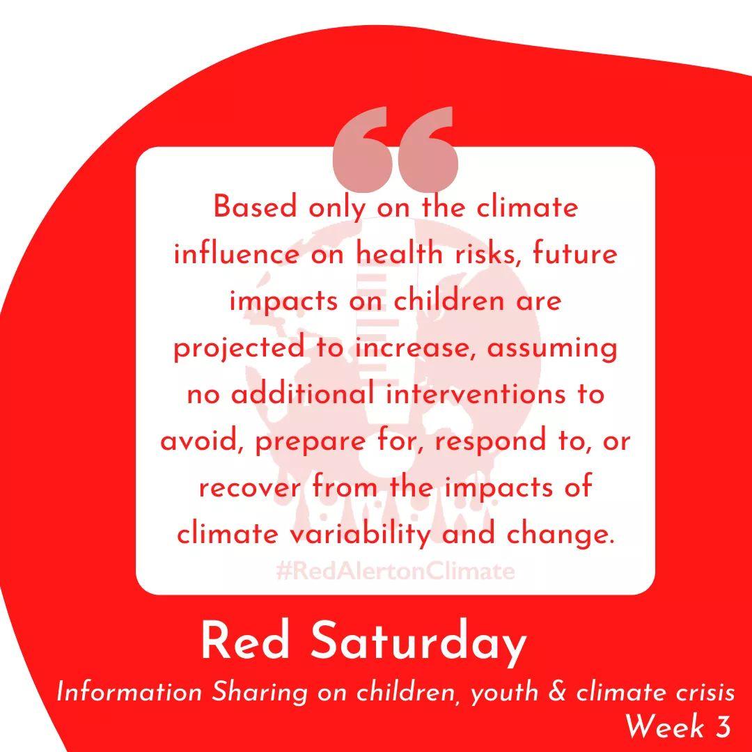 """बिशेषत: बालबालिका तथा युवाहरुमा जलवायु सङ्कट सम्बन्धि सुचना र जानकारी प्रवाह गर्नको निम्ति हामीले प्रत्येक शनिबार """"Red Saturday"""" नामक सुचना प्रवाह गर्दै छौ ।  Red Saturday को  तेस्रो शृंखला आज यहा ‼️ #RedSaturday #Children4Climate #Youth4Climate https://t.co/17hdGm65zI"""